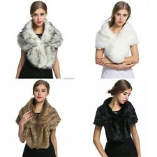 Women Elegant Fleece Faux Fur Shawl Shrug Soft Wedding Party Festival Scarf New
