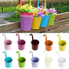 Metal Flower Pot Hanging Vase Bucket Garden Planter Home Decor 10 Colors