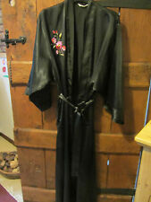 Marks & Spencer Ladies Black Embroidered Dressing Gown Size12-14 Long