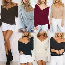 Women Vouge Long Sleeve V Neck Sweater T-Shirt Pullover Loose Jumper Blouse Tops