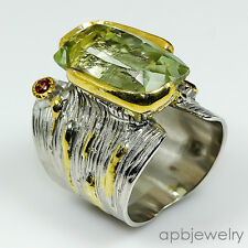 Top gem 28ct if Natural Green Amethyst 925 Sterling Silver Ring Size 8/R68357