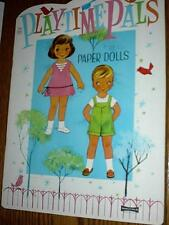 1960's PLAYTIME PALS PAPER DOLLS Saalfield 5 punch-out dolls 6 pgs clothes UNCUT
