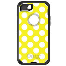 CUSTOM OtterBox Defender for iPhone 6 6S 7 PLUS White & Yellow Polka Dots