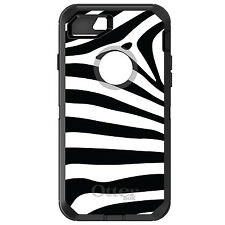 CUSTOM OtterBox Defender for iPhone 6 6S 7 PLUS Black White Zebra Skin Stripes