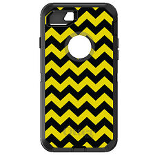 CUSTOM OtterBox Defender for iPhone 6 6S 7 PLUS Black Yellow Chevron Stripes