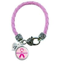 Custom Breast Cancer Awareness Leather Bracelet Jewelry Initial Family Charm