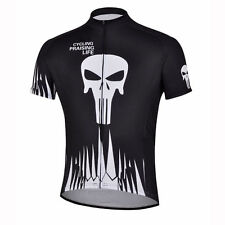 Black Skeleton Bike Jersey Men's Cycling Shirts MTB Cycle Jersey Tops S-5XL