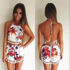 Women Sexy Two Pieces Set Halter Sleeveless Backless Flower Print Fringe Shorts
