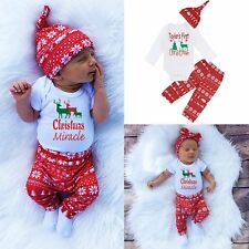 3pcs Newborn Infant Baby Boy Girl Clothes Romper Tops+Pants Leggings Outfits Set