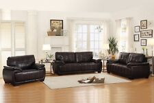 3Pc Transitional Living Room Set Dark Brown Sofa Loveseat Chair Furniture Couch