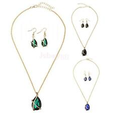 Women Wedding Crystal Gold Plated Pendant Necklace Earrings Jewelry Set