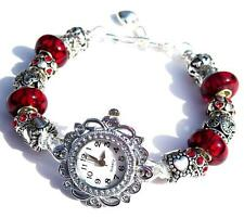 European Crystal Watch Bracelet RED Murano Glass YOU CHOOSE WATCH FACE BB5
