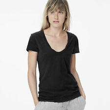 JAMES PERSE WOMEN'S BASIC CASUAL DEEP NECK TEE, DEEP BLUE: STYLE #WSVH3182CU