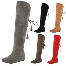 ladies Slip on Ribbon Knee Length shoes winter womens Knee high Furry Boots Size
