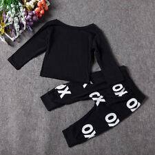New 2pcs Baby Boy Clothing Set Cotton Long Sleeved Printing T-Shirt+Pants F5