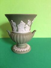 Cat Charity Auction Wedgwood Green Jasper Ware Small Urn Style Vase
