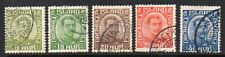 Iceland: 1921 Christian X new colours set (5) SG 132-6 used