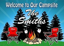 Camping Sign- Welcome to Our Campsite Camper w/ Red Chairs
