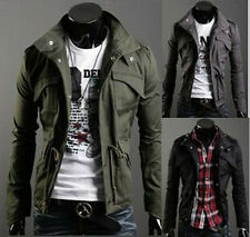 Mens Jacket Slim Coat Casual Long Outwear Button Clothes Zip Military Suit Tops