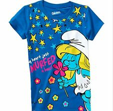 The Smurfs Girls Smurfette My Heart Just Smurfed A Beat Tee Shirt 10-12 Large NW