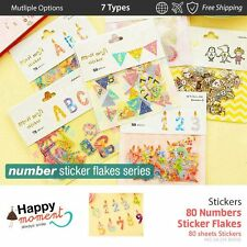 (7 Types) 80 Numbers Sticker Flakes Stickers Craft DIY Decor Diary 80 sheets