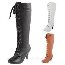 womens Combat Martin Elegant Shoes winter Casual lace up high heel Boots Size