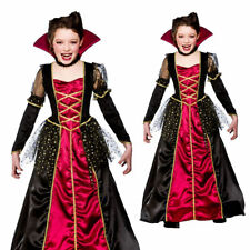 Girls Vampira Princess Costume Vampire Halloween Kids Fancy Dress Outfit