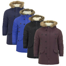 Mens Brave Soul Parka Parker Padded Lined Winter Jacket  Faux Fur Hooded Coat