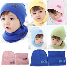 New Baby Boys Girls Children Winter Cap Knitted Warm Hat and Scarf Set Pratical