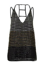Topshop New Black Gold Silver Beaded Embellished Ombre Cami Top 6 - 12 RRP £42