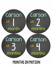 Personalized Baby Boy Monthly Stickers Custom Baby Name Month Sticker #503