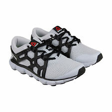 Reebok Hexaffect Run 4.0 MTM Mens Grey Black Mesh Athletic Lace Up Running Shoes