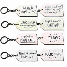 Novelty White Wooden Keyring My Man Cave Keys Your Key Chain Mums Dads Shed