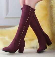 New Ladies High Fashion Leisure Faux Suede Knee High Boots Casual Shoes Size