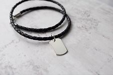 MENS STERLING SILVER DOG TAG LEATHER NECKLACE WITH FREE PERSONALISED ENGRAVING
