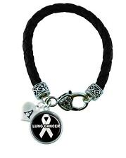 Custom Lung Cancer Awareness Ribbon Black Leather Bracelet Jewelry Initial