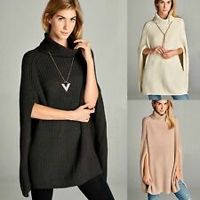 Cable Knit Turtleneck Cape Sweater Poncho Charcoal Black Ivory Blush $69 msrp OS
