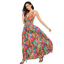 Sexy Women Beach Prom Backless Halter Bandage Floral Long Maxi Dress KECP