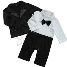 Baby Boys Tuxedo Wedding Xmas Romper Jacket Formal Wear Suit Outfit Clothes Set
