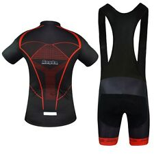 Aogda Cycling Set Mens Reflective Cycle Bike Jersey & (Bib) Shorts Kit Black-Red