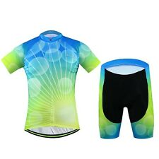 Aogda Cycling Clothing Set Mens Cycling Jersey & Padded (Bib) Shorts Kit Bubbles