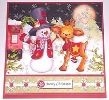 Handmade Greeting Card 3D Humorous Christmas With A Snowman And Reindeer