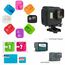 Soft Silicone Cover Case+Screen Protective LCD Lens Guard Film for Gopro Hero 5