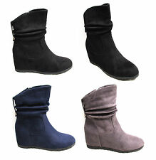Womens Ladies Wedge Ankle Boots Shoes Slouch High Heel Zip Up Faux Suede Casual