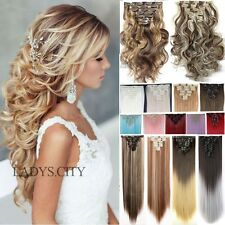 EXTRA THICK Full Head 18Clips Clip In Hair Extensions Brown Blonde Hairpiece Tis
