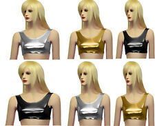 Ladies Women Metallic Hot Wet Look Shiny Party Disco Racer Crop Top