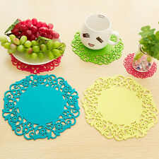 5pcs Silicone Floral Lace Coaster Cup Cushion Holder Drink Placement