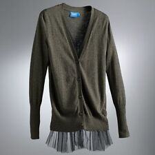 Womens Gray Tulle Cardigan Sweater Vera Wang S M L XL Petite & Regular $64 NEW