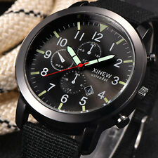 Men Military Quartz Army Nylon Watch Date Stainless steel Sport Wrist Watch