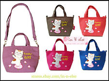2 Styles Bag : Shoulder Bag / Handbag Lucky Cat Canvas Medium Sz